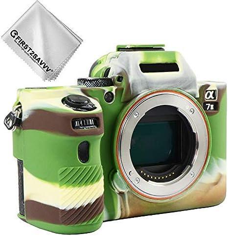 First2savvv verde cuerpo completo caucho de TPU funda estuche Silicona para cámara para Sony ILCE Alpha a7 II . a7R II . a7S II .A7M2 + paño de limpieza XJPT-A7II-GJ-06G11: Amazon.es: Electrónica