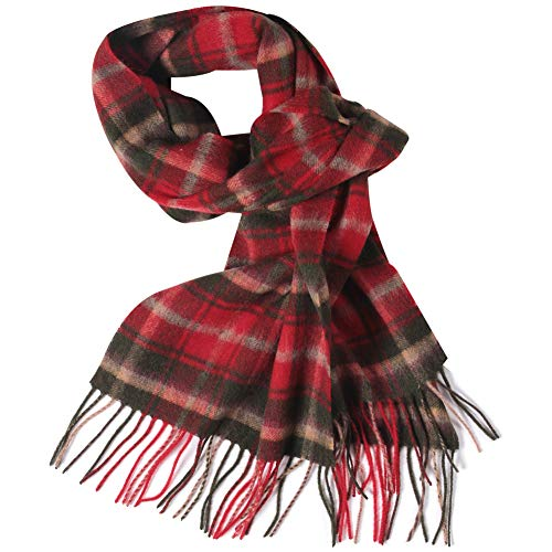 - WAMSOFT Womens Winter Scarf, Wool Scarf Unisex Knit Checked Pattern Cashmere Feel Premium Warm Plaid Long Scarf Muffler, Red