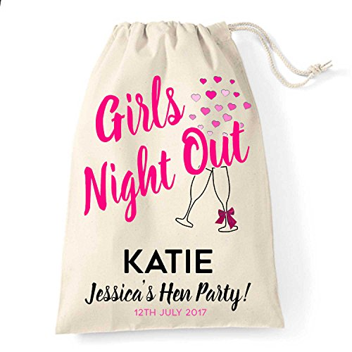 15cm x 20cm Small Personalised wedding hen party drawstring bag Girls Night Out