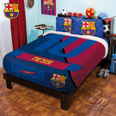 Bedspread Club Barcelona Fleece Fuzzy Messy FULL/MAT Sheets Set 5PC Sports Football LIMITED EDITION ()