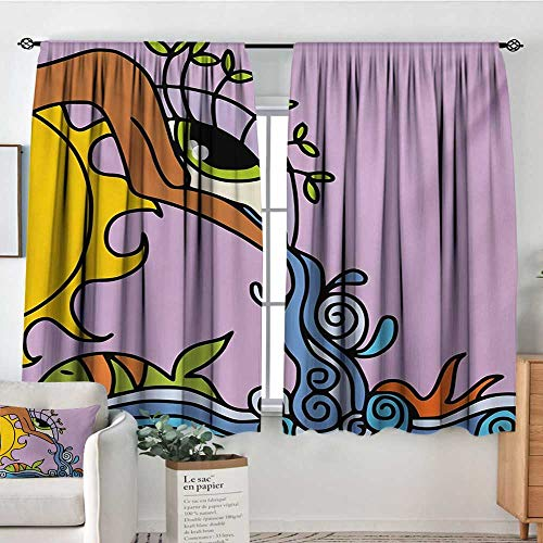 Mozenou Eye Patterned Drape for Glass Door Abstract Fantasy Composition Sun Waterfall Hand with Eye to Swirled Ocean Fish Magic Blackout Draperies for Bedroom 63