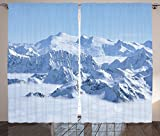 Farmhouse Decor Curtains Snowy Summit of Alps over Clouds Scene at Winter Wilderness in Nature Living Room Bedroom Window Drapes 2 Panel Set White Blue