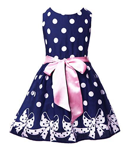 2 Vintage Girl - Girl Dress Sleeveless Vintage Princess Polka Dots Lovely Summer Dress for 2-8T Dark Blue