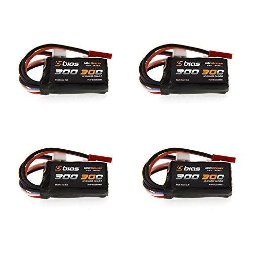 Bias 30C 2S 300mAh 7.4V LiPo Battery with JST and E-Flite JST-PH Plug x4 Packs