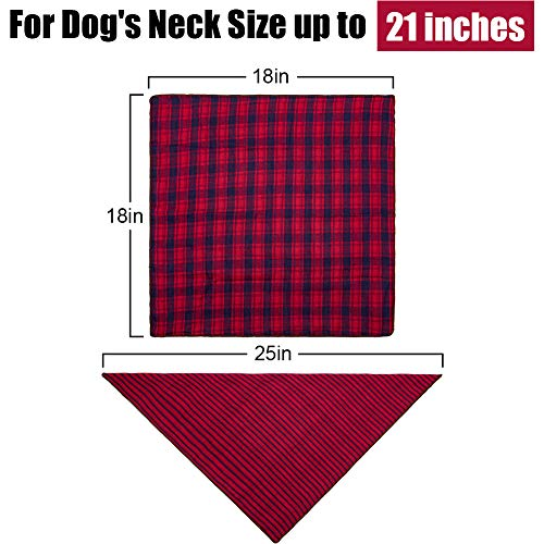 Dog Bandanas - 6PCS Birthday Gift Washable Green Black Brown Blue Red Dog Bandana Square Plaid Printing Dog Bib Double Reversible Kerchief Scarf Adjustable Accessories for Small to Large Dog Puppy Cat