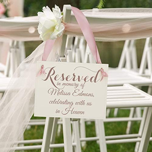 Personalized Memorial Sign Reserved In Memory Of (Custom Name) Celebrating With Us In Heaven   Seat Banner Chair Signage Seat Loved Ones Who Died Before -