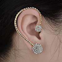 Gothic Gracious Gold Plated Rhinestone Ear Cuff Stud Clip Earring Wrap Jewelry