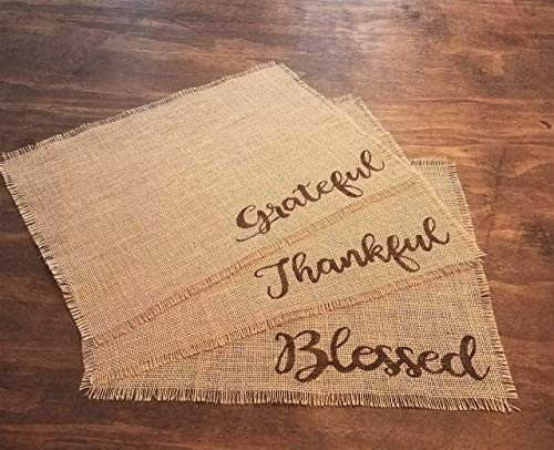 Rustic Thanksgiving Burlap Placemats, Rustic Fall Table Decor, Burlap Fall Decorations, Rustic Thanksgiving Table Decorations, Table Mats Set of 2, 4, 6, 8, 10, or 12 Tan Placemats with Brown Words