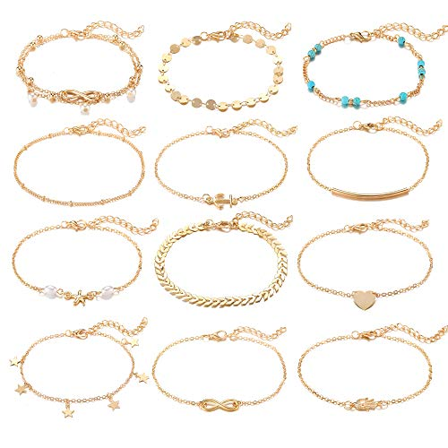 Softones 12Pcs Ankle Bracelets for Women Girls Gold Silver Two Style Chain Beach Anklet Bracelet Jewelry Anklet Set,Adjustable Size (For Women Anklets Gold)