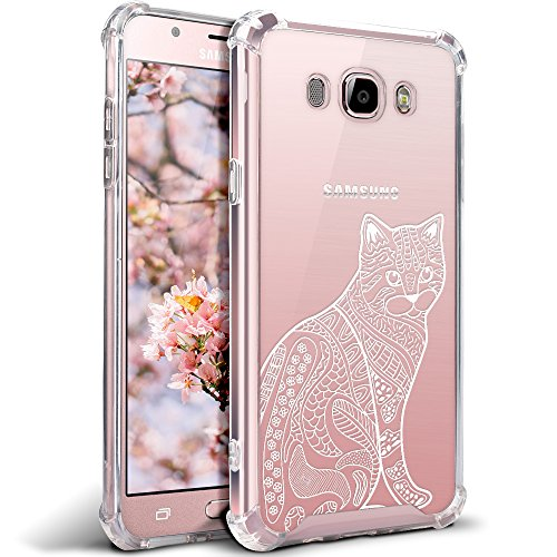 Galaxy J7 Case, Galaxy J7 Clear Case, MISS ARTS White Floral Cat Premium Shock Absorption TPU Bumper Cushion + Scratch Resistant Clear Protective Cases Hard Cover for Samsung Galaxy J7 - Clear Cat