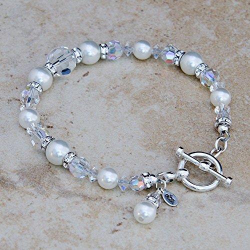 Bridal Bracelet with Custom Color Swarovski® Crystal Pearls