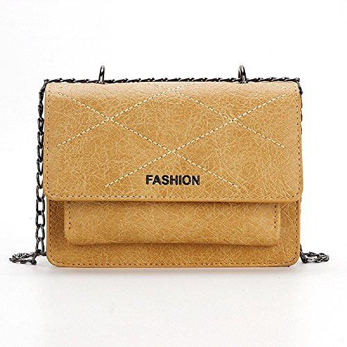 Sacs Petit Lingge Sac Bag Sac Simple Sauvage ZHRUI Femme à épaule carré Jaune Petit Trend Messenger Main Unique 5Xw4Cdqndx