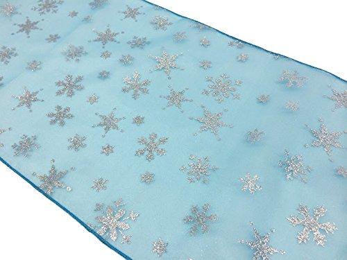 "ArtOFabric Glitter Snowflake Organza Frozen Inspired Table Runner 12""x72"" Inch Turquoise"