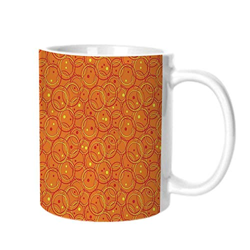 - Burnt Orange Fashion Coffee Cup,Circle Patterns in Fashion Trend Colors on Retro Dotted Background Decorative For office,One size