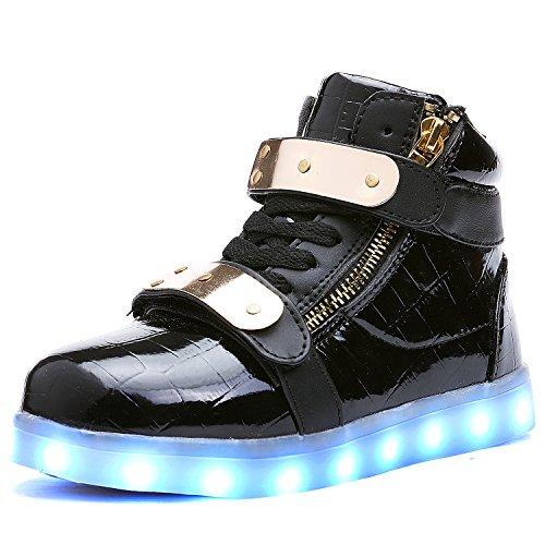 UBELLA Children Boys Girls High Top USB Charging Metal LED Sneakers,12.5 M US Little Kid,Black ()