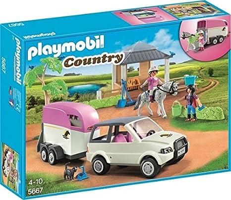 PLAYMOBIL 5667.0 - Picadero de Caballos de Juguete con camión transportador de Caballos
