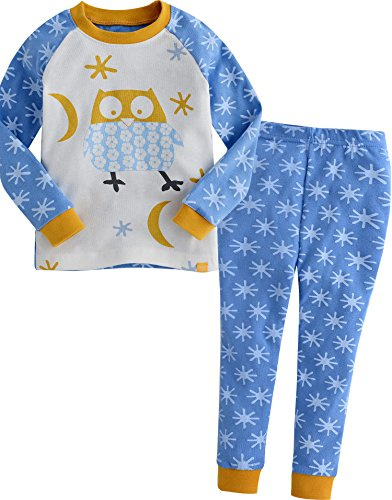 Vaenait baby Kids Boys Sleepwear Pajama Top Bottom Set Snow Owl Blue (Snow Crewneck Top)