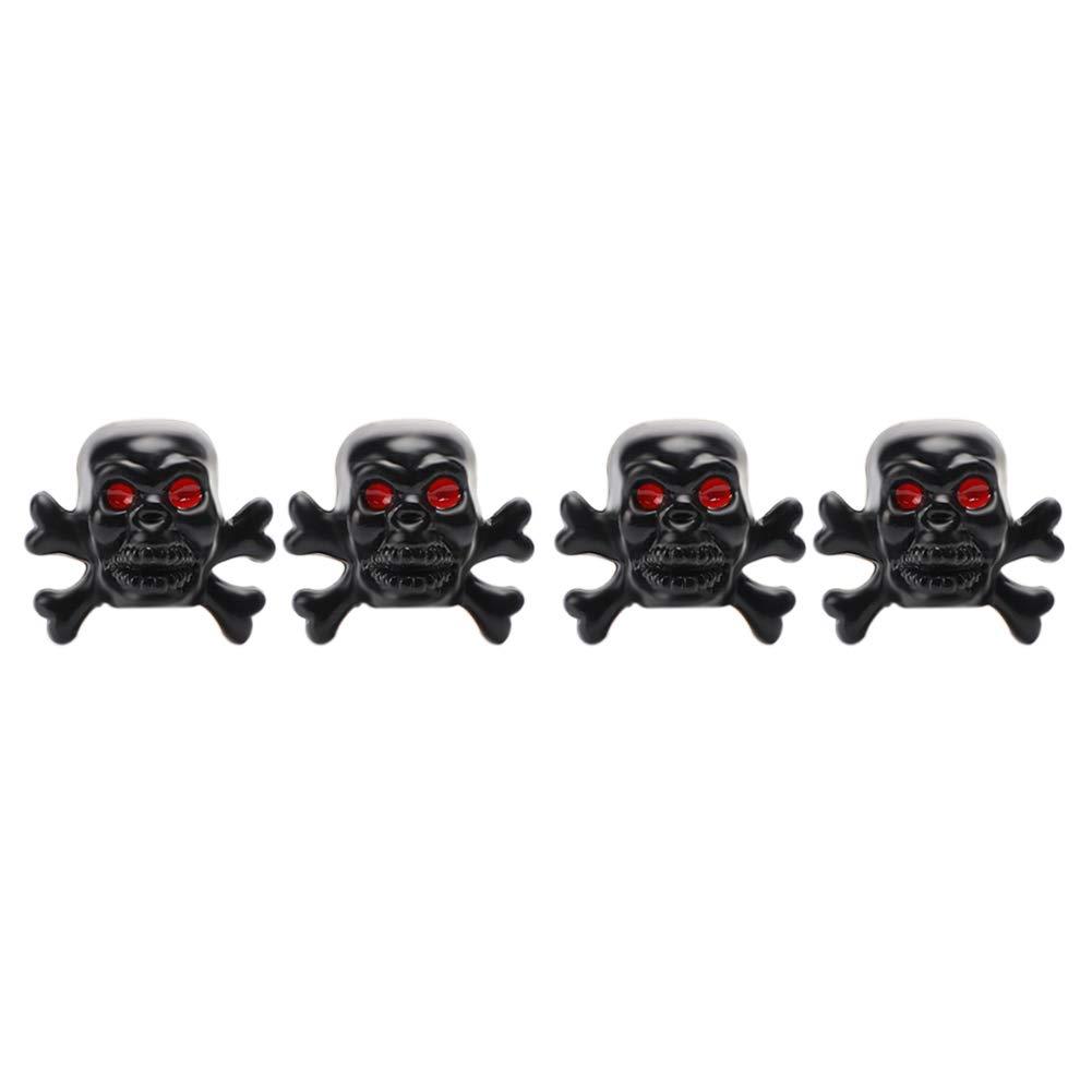 Soleebee 4 Pi/èces Capuchon de Valve Cr/âne Chrome Tire Capsules Accessoires De Voiture Accessoires Universal Bouchons de Valve pour Voiture SUV Camion Moto V/élo Pirate Noir
