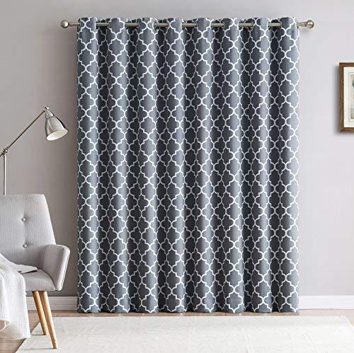 """Lattice Print Thermal Grommet Room Darkening Blackout Patio Door Curtain for Sliding Glass Door - Grey - 100"""" W x 84"""" L"""