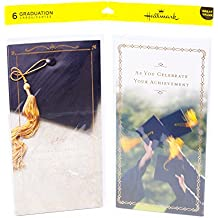 Hallmark Money Holder or Gift Card Holder Graduation Greeting Card Assortment (6 Cards/2 Designs, and 6 Envelopes, Graduation Cap Designs )