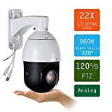 SUNBA 22X Optical Zoom, 960H Analog High Speed PTZ Cameras, CCTV 328ft Night Vision Outdoor Security Dome w/RS485 Control (405-22X)