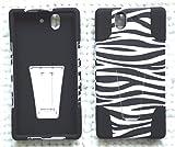 Case+Film+Stylus+Wrap+Cap Fits Sony-Ericsson C6603 L36h C6606 C6602 Xperia Z/Yuga Hybrid Case with Stand Black/White Zebra Skin