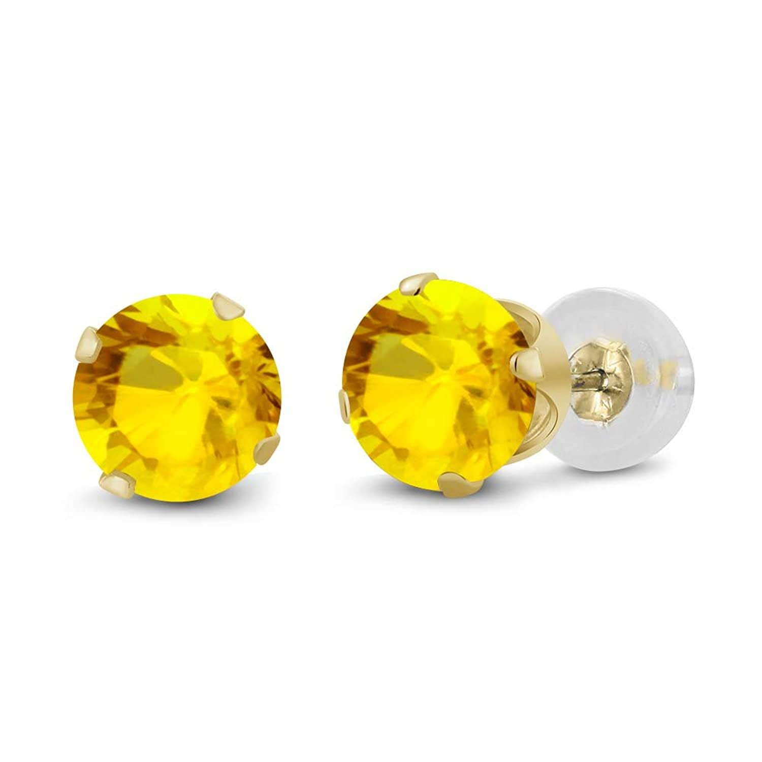 14K Yellow Gold Natural Yellow Sapphire Women's Stud Earrings (0.72 cttw, 4MM Round)
