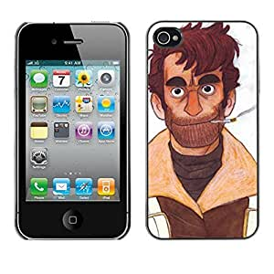 Colorful Printed Hard Protective Back Case Cover Shell Skin for Apple iPhone 4 / iPhone 4S / 4S ( Man Portrait Art Cigarette Beard Brown Smoke )