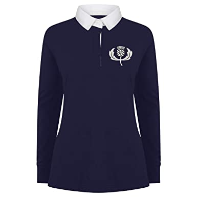 d7e923bbabd Printmeashirt Ladies Vintage Embroidered Scottish Thistle Long Sleeved  Rugby Shirt: Amazon.co.uk: Clothing