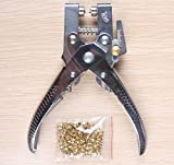 Eyelet Grommet Pliers Setting, Steel Hole Punch Eyelet Setter Kit - For Leather, Canvas, All Fabrics Men & Women Clothes, Shoes, Belts, Bags, Crafts - 100 Free Gold eyelets/grommets (100 nail)