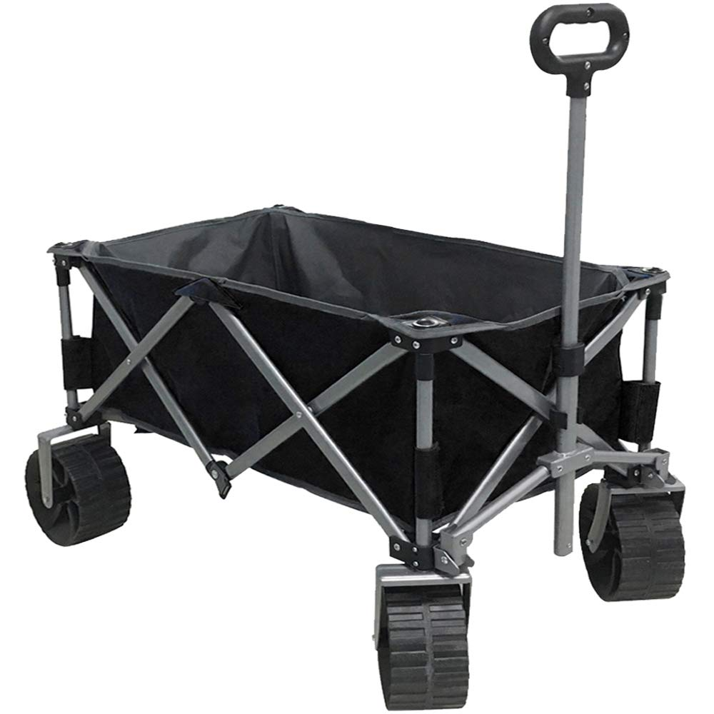 Eurmax Sports Collapsible Sturdy Steel Frame Garden Carts on Wheels Utility Beach Wagon Cart with Big Wheels,Bonus 8x8Ft Picnics Mat (Black)