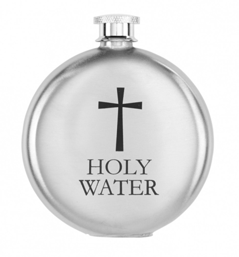 5 Ounce Religious Gifts Stainless Steel Round Holy Water Bottle Container with Screw Top Lid
