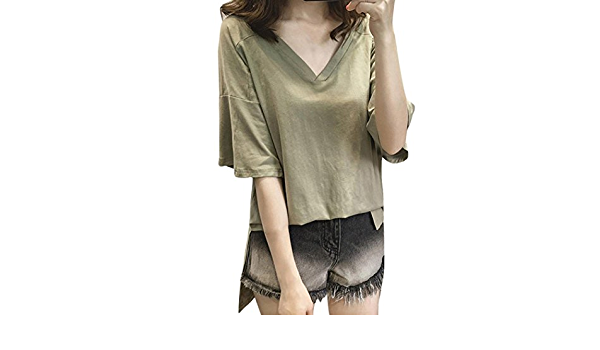 YJYda Blusa de Manga Corta para Mujer, Talla Grande, Color