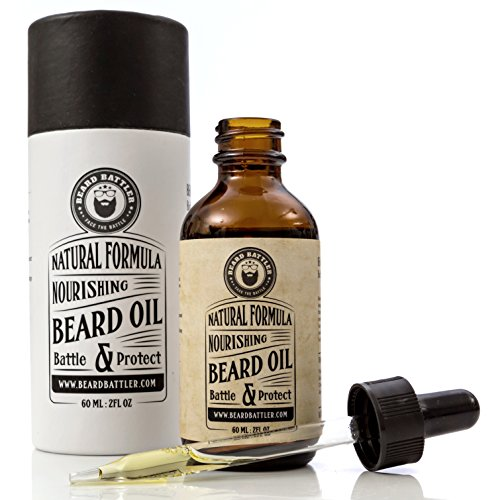 Beard Oil Unscented - Add to a Mens Grooming or Travel Kit Best Moustache Growth Works Great with Brush, Balm, Conditioner, Shampoo & Wax Boar Bristle Hair Brush and Comb Accessory - Facial Hair Biker Moustache