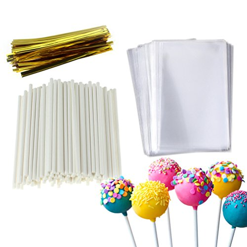 Cake Pop Treat Bag Set, 100 PCS White Lollipop Sticks, 100 PCS Lollipop Parcel Bags with 100 PCS Metallic Twist Ties]()