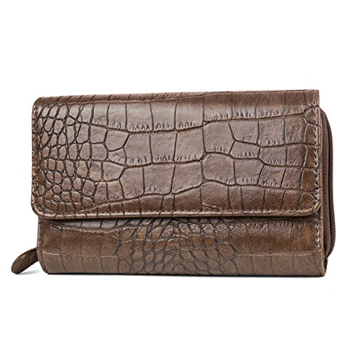 - Mundi Big Fat Wallet Womens RFID Blocking Wallet Card Carrier Clutch Organizer (Brown (Alligator))
