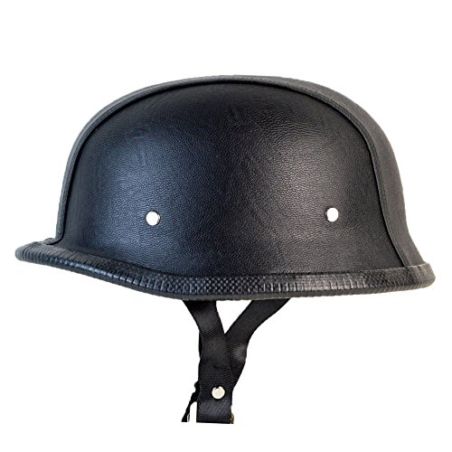RIVAL N07 German Novelty NON DOT Motorcycle Low Profile Half Helmet Beanie Harley Chopper Cruiser Biker Tactical Airsoft Paintball Skid Lid (Small, Black PU Leather)