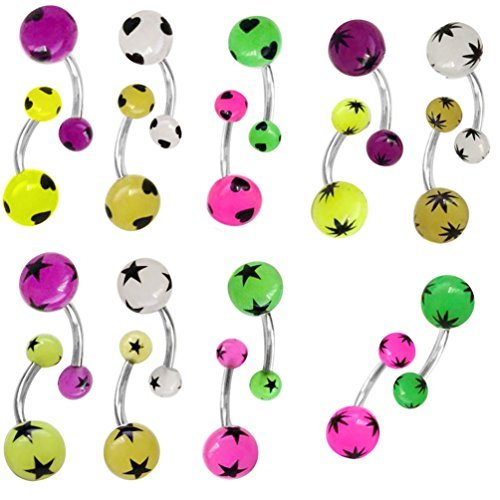 Belly Ring Gauge 14 Star (Lot of 18 Glow In Dark Stars Belly Ring Stainless Steel Barbell 14 Gauge)