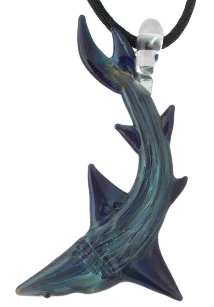 Hand Blown Glass Blue Moon Shark Pendant, Necklace, Focal Bead