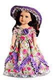 American Girl Doll Clothes Lavender Style Retro Party Dress Long Skirt + Hat Fit AG Dolls,Journey Girl Dolls