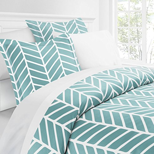 Italian Luxury Herringbone Pattern Duvet Cover Set - 3-Piece Ultra Soft Double Brushed Microfiber Printed Cover with Shams - Full/Queen - Aqua/White (Italian Bed)