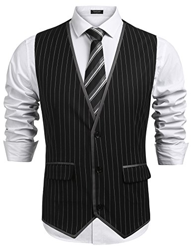 Vest Black Pinstripe - COOFANDY Mens V-Neck Sleeveless Slim Fit Vest Jacket Business Suit Dress Vests,Black,Large