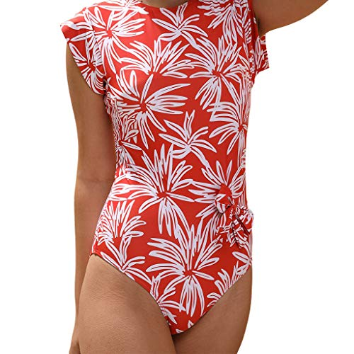 YUEZIHUAHUA Women Wetsuit Ladies Stretch Jumpsuit Leotard Short Sleeve Floral Printed O Neck T Shirt Tops Bodysuit One Piece (Orange, M)