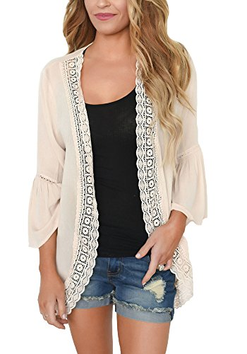 PRETTODAY Women's Loose Kimono Summer Cover Up Tops 3/4 Sleeves Solid Color Casual Blouse