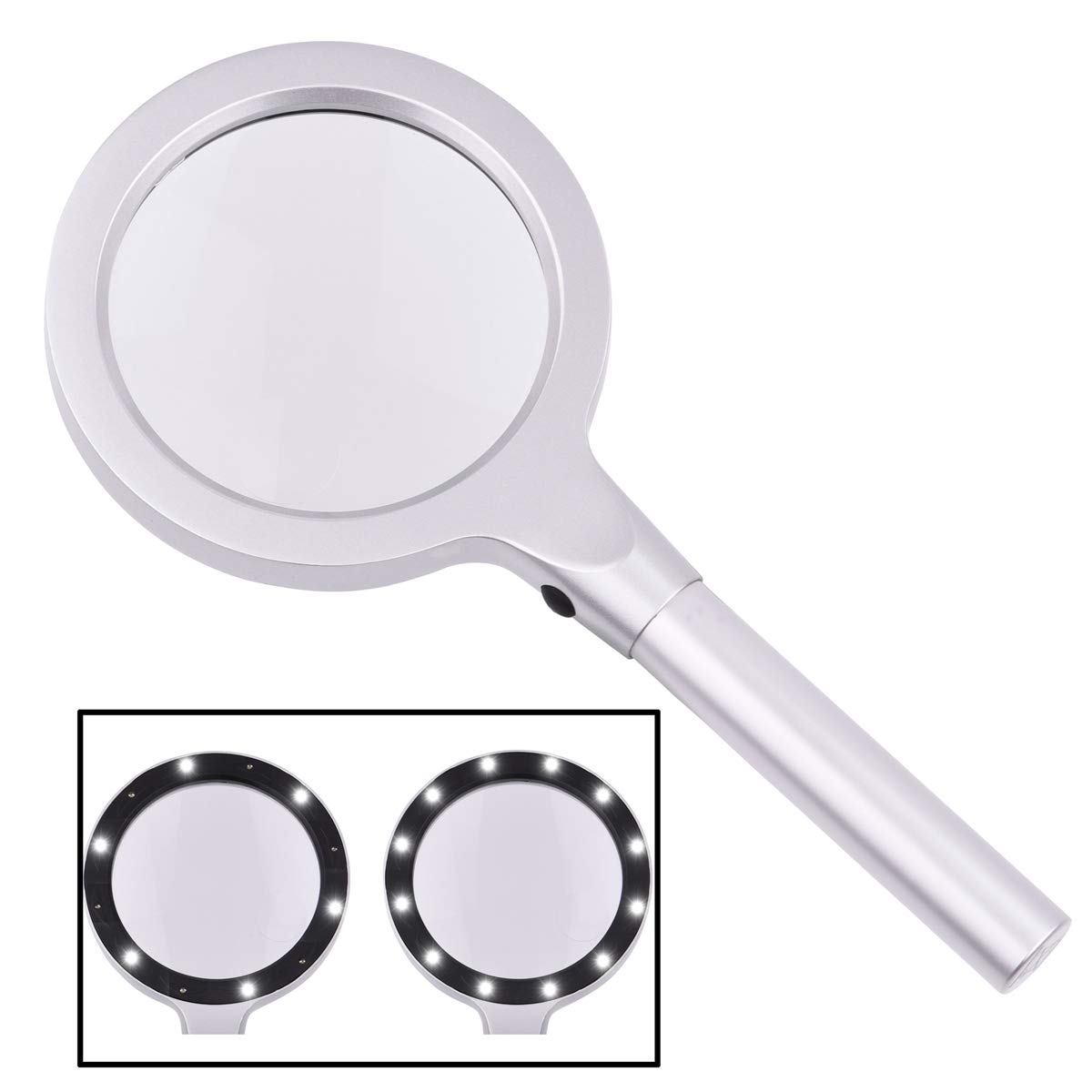 HeiyRC Magnifying Glass with LED Light,5X 10X Handheld Magnifier for Reading Books,Repair,Coins,RC Hobbies,Jewelry Loupe