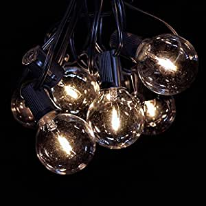 """LED Filament Outdoor Patio String Lights (50 ft, LED Filament G50 Clear - Black Wire - 2"""" .6 Watt Bulbs)"""
