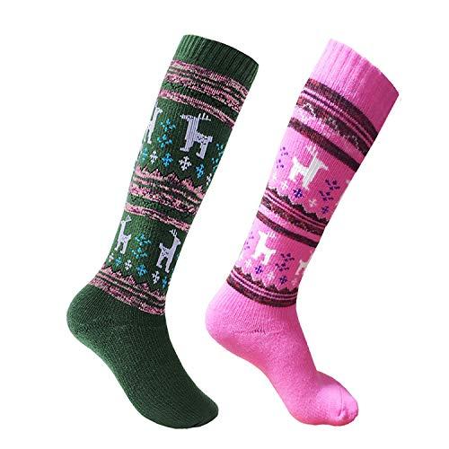 Ski Socks Toddler 2 Pack Elk Pattern Thicken Cotton Warm Winter Sport Socks 3-8 Years (Pink/Green)