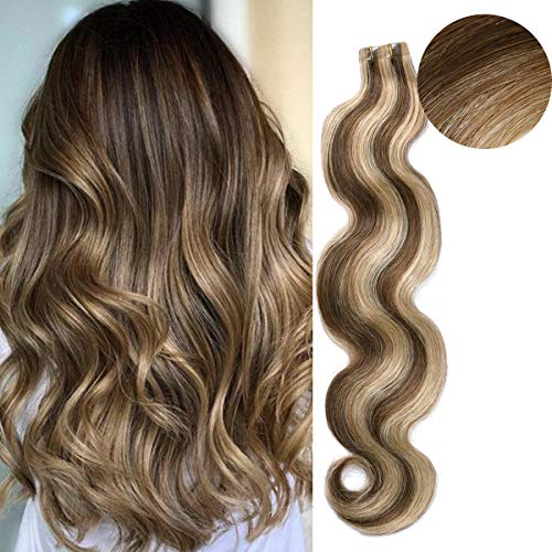 """BESFOR Remy Hair Extension Tape in Wavy Human Hair 50g 20"""" Two Tone Colored Hair #4/27 Honey Blonde Highlighted Chocolate Brown Real Balayage Hair Extension 20pcs/pack"""