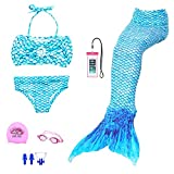 AUIE SAOSA Girl Mermaid Tail for Swimming Swimwear Cover up Sets Girls Goggles 7pcs Blue B150