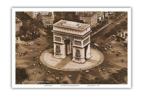 Arc Wall - Pacifica Island Art Paris, France - Arc de Triomphe de l'Étoile - Vintage World Travel Poster c.1953 - Master Art Print - 12in x 18in